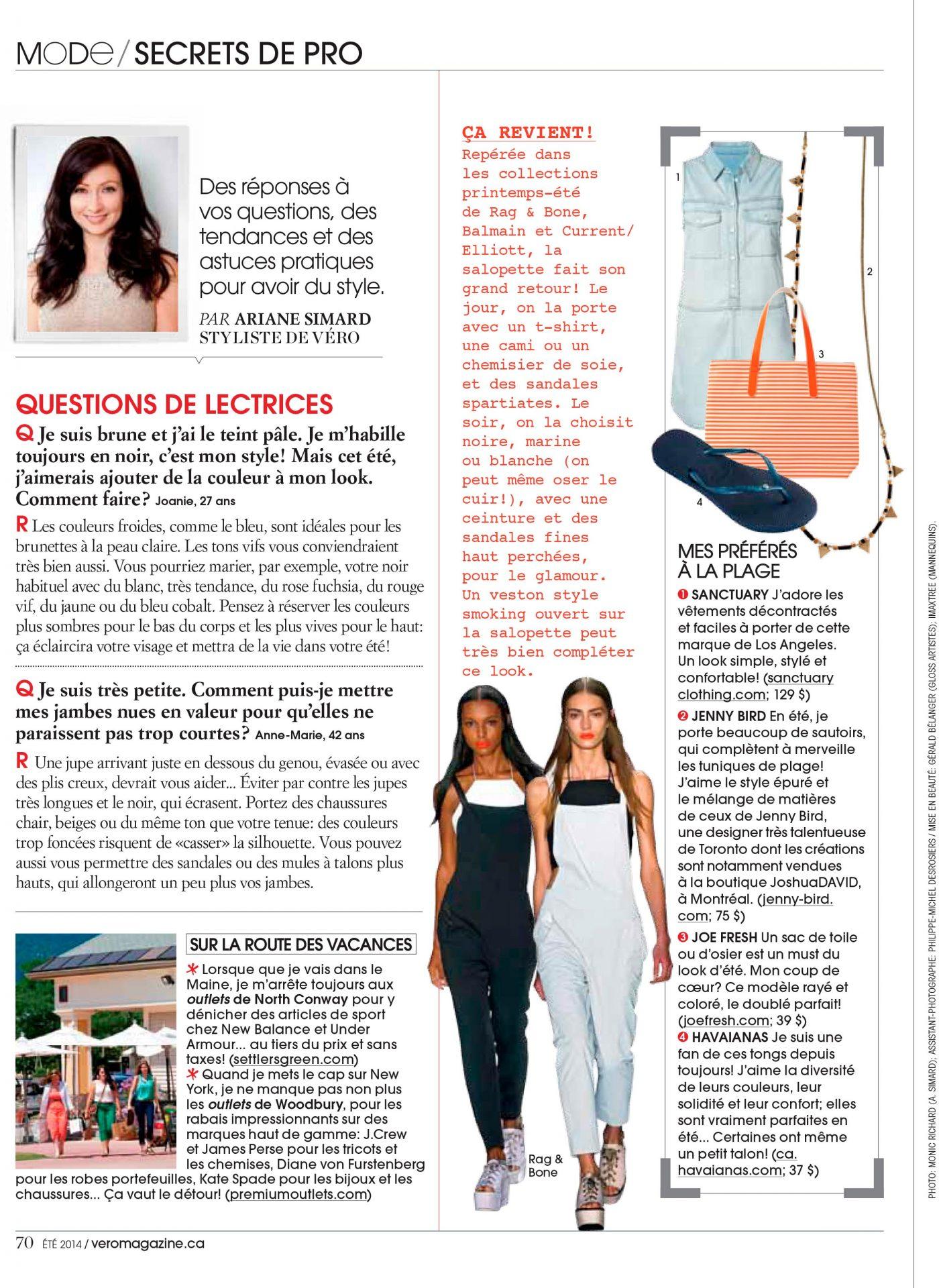 Secrets de pro Magazine Vero Ariane Simard Ete 2014