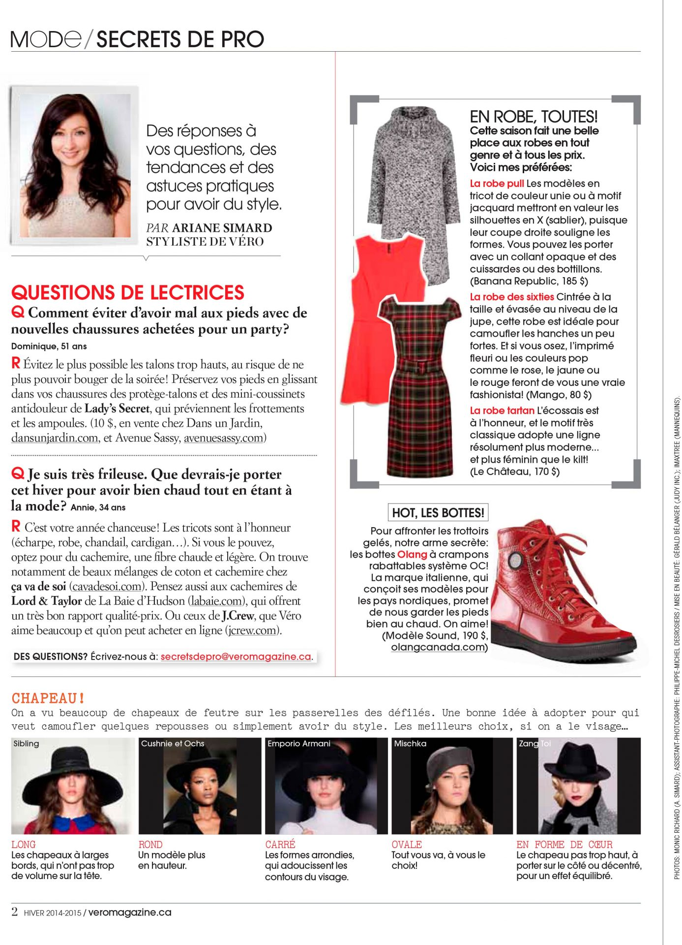 Secrets de pro Magazine Vero Ariane Simard Hiver 2014 2015